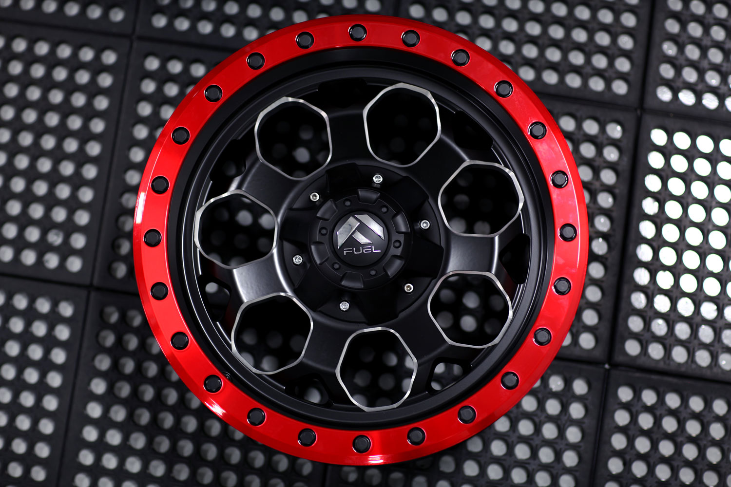Savage D565 Machined Candy Red Lip Fuel Off Road Wheels