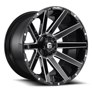 Contra - D615 22x12 -44 | 6 Lug | Gloss Black & Milled