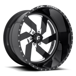 FF03 - 6 Lug Gloss Black & Milled