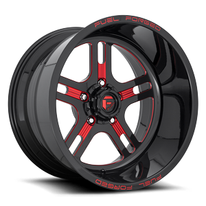 FF33 - 5 Lug Gloss Black w/ Candy Red