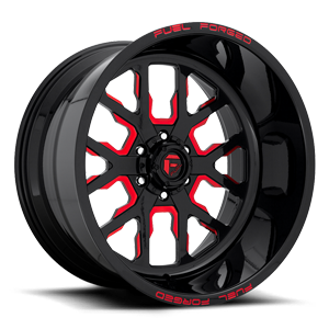 FF45 - 6 Lug Gloss Black w/ Candy Red