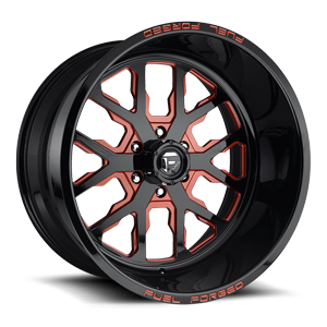 FF45 - 6 Lug Gloss Black | Inferno Orange
