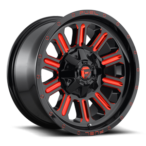 Hardline - D621 18X9 +1 | Gloss Black w/ Candy Red