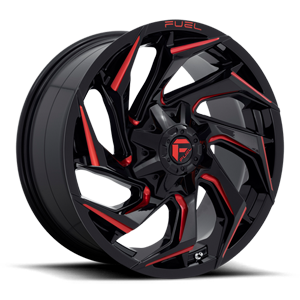 Reaction - D755 Gloss Black with Red Milling - 20x9