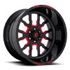 FF45 - 6 Lug Gloss Black w/ Candy Red
